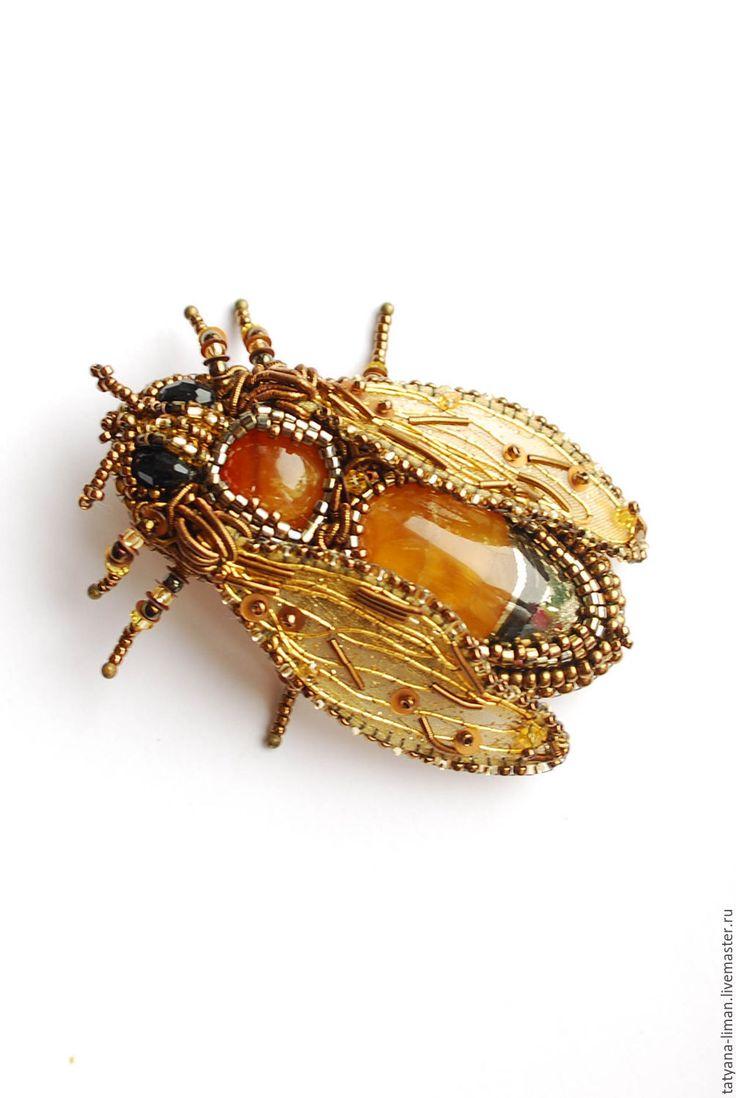 Купить Брошь Пчелка Успенская - брошь, пчела, пчелка, жук, кулон, золото, золотой, канитель
