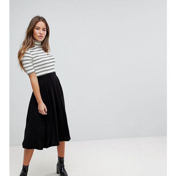 ASOS PETITE Midi Skirt with Box Pleats (83 PEN) ❤ liked on Polyvore featuring skirts, black, petite, denim midi skirt, knee length pleated skirt, short pleated skirt, box pleat skirt and high waisted midi skirt