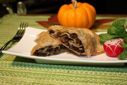 Mushroom Strudel (mushrooms diced and simmered with herbs in wine and ...