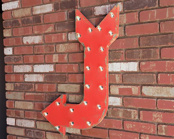 Battery Operated Rustic Metal LEFT Arrow Metal Exit Enter Marquee Sign Light