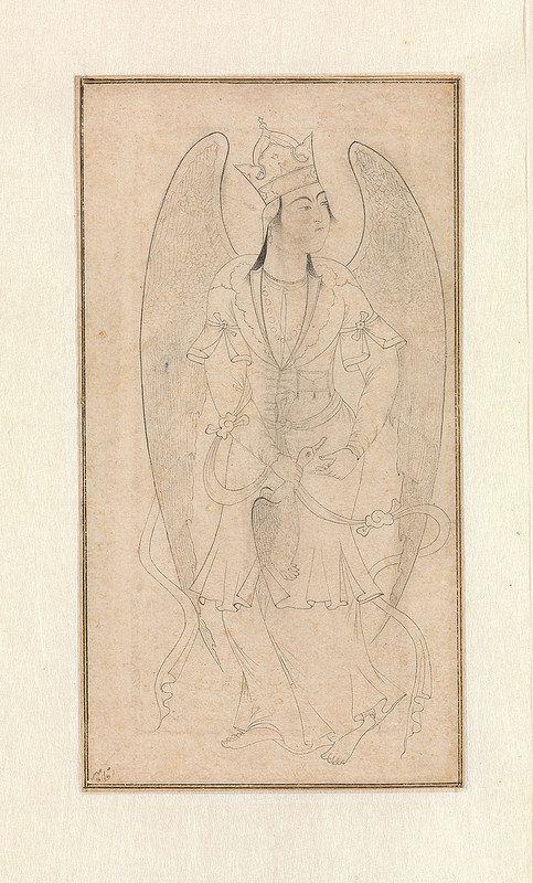 فرشته، قرن 16میلادی، ایران Drawing of an Angel Object Name: Illustrated single work Date: 16th century Geography: Iran Culture: Iranian Medium: Ink and gold on paper Dimensions: 5 1/4 x 2 7/8 in. (13.3 x 7.3 cm)