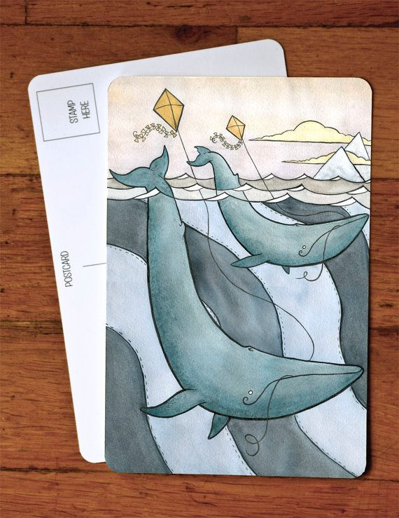 Blue Whales Flying Kites Art Postcard - Blue Whale Postcard Art - from original watercolor painting 4 x 6 via Etsy