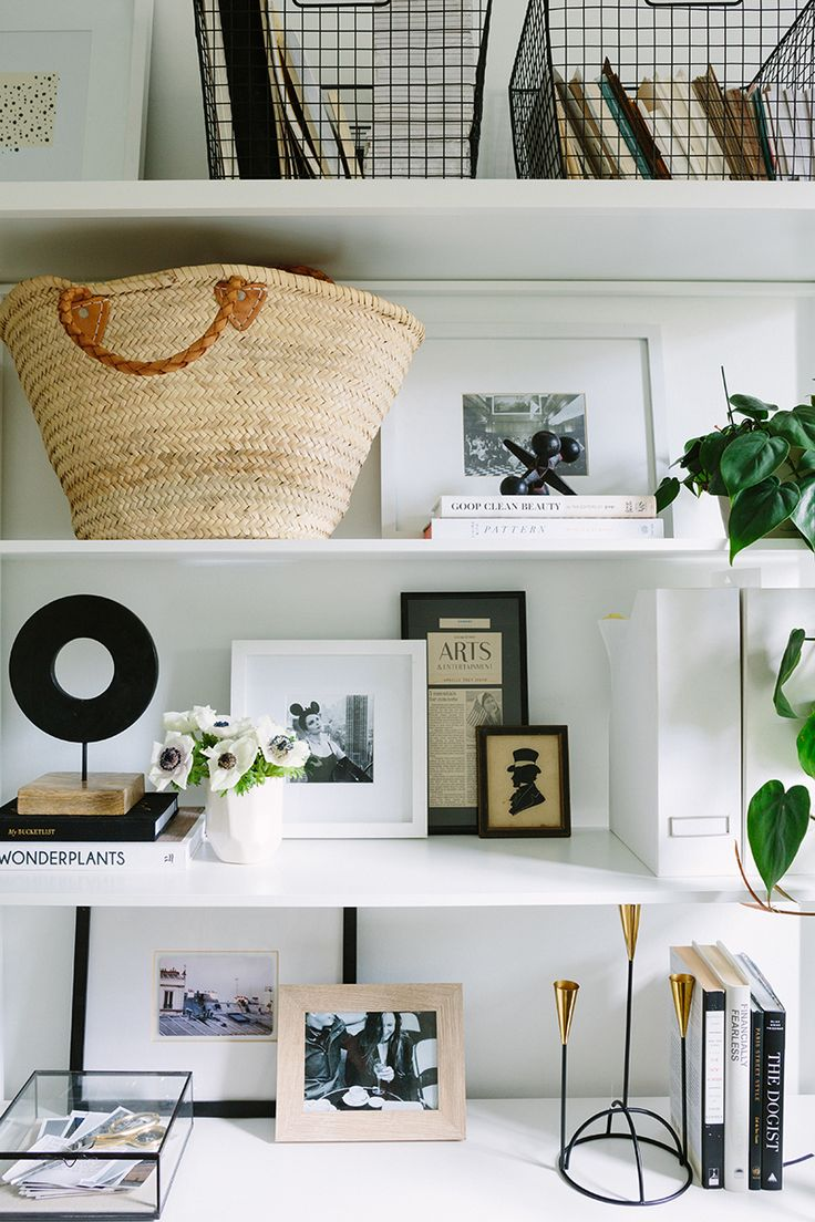 French-Inspired Office Shelf Styling