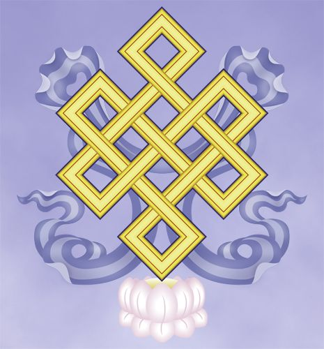 Eight Sacred Symbols: The Endless Knot - An auspicious geometric diagram, it symbolizes the unity of wisdom, great compassion and the illusory character of time.