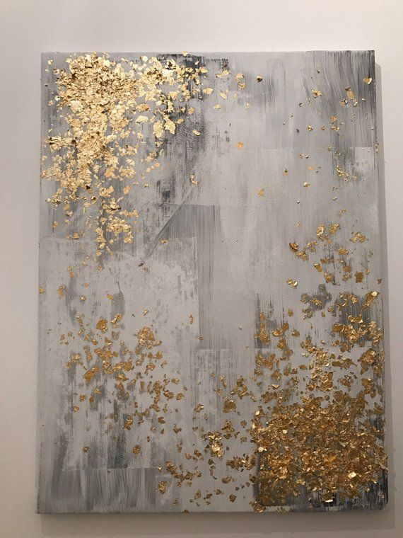 49f3720c5c5 Items similar to Light grey and gold leaf abstract painting on Etsy ...