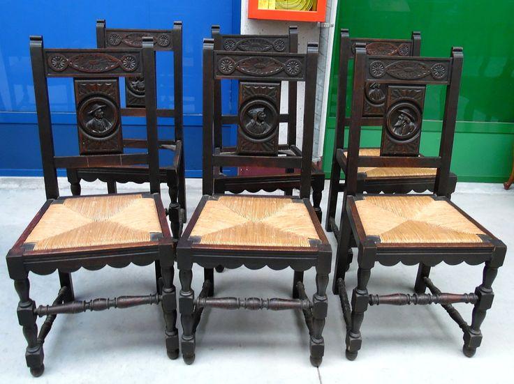 6 sedie in rovere bretoni prima metà del '900 scolpite con personaggi