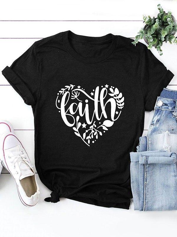 02229b4ce Dresswel Women Faith Letter Love Graphic Print T-shirt Tops $15.99 #dresswel  #women #fashion #t-shirt #letterprint