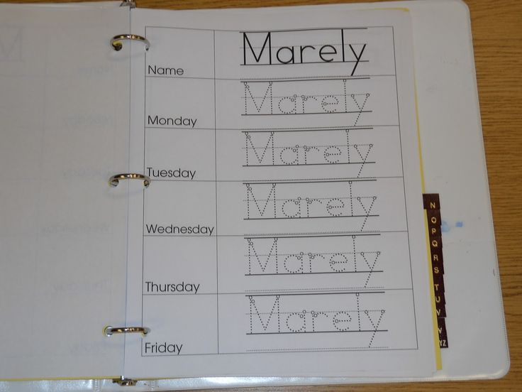 Daily Child Sign-In -- children sign themselves in each day.  Great way to practice name