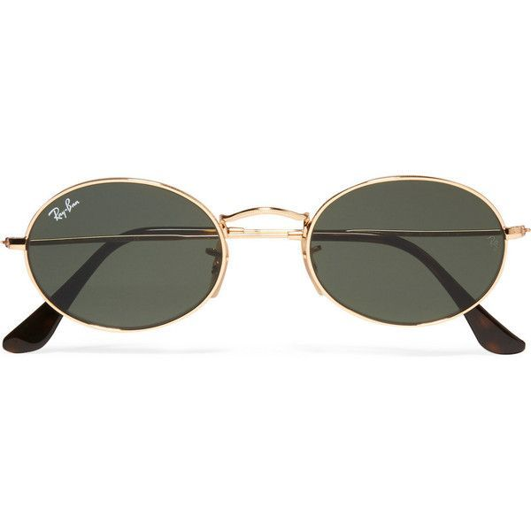 Ray-Ban Ray-Ban - Icons Oval-frame Gold-tone Sunglasses (€145) ❤ liked on Polyvore featuring accessories, eyewear, sunglasses, oval sunglasses, ray ban glasses, ray ban eyewear, round lens sunglasses and round frame sunglasses