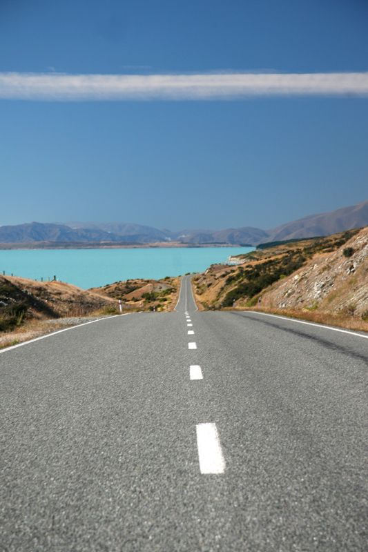 New Zealand, open road as far as one can see. Love to