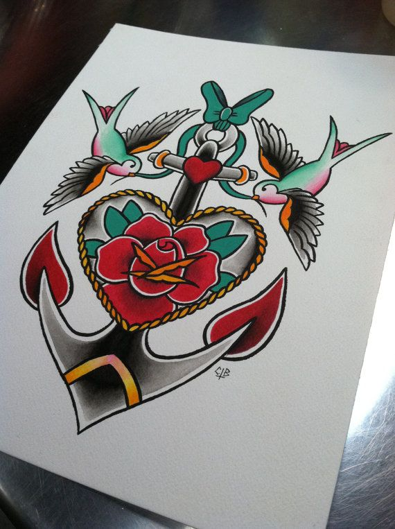 """Traditional Flash: Rose & Anchor with Sparrows - 8.5"""" x 11"""" Watercolor Print"""
