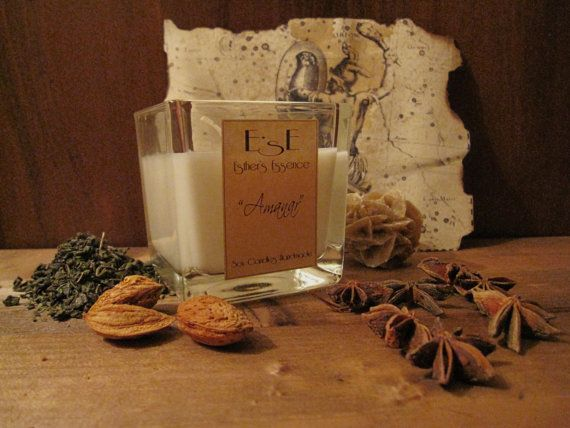 """Soy Candle """"Amanar"""" -Almond and star anise- Sensual scent by EstherEssenceCandles"""