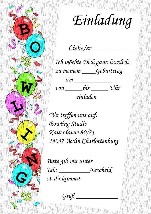 Kindergeburtstag Einladungen Bowling Kostenlos Zum Ausdrucken