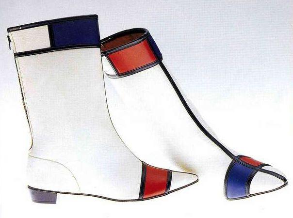 Сапоги. Хай Брауз, 1965-1969. Белая, черная, красная и синяя искусственная кожа, сшитая в стиле «Мондриан», застежка-молния.