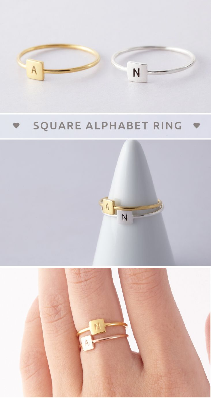 Initial Rings • Square Alphabet Ring • Custom Signet Ring • Signet Initial Ring • Flat Signet Ring • Stackable Initial Rings • initial jewelry • gold initial rings • jewelry with initials • Anniversary ring • costume jewelry • Minimalist jewelry • best christmas gifts for friends • presents for friends • Valentine's Day Gifts • gifts for children • gifts for best friends • birthday presents for her