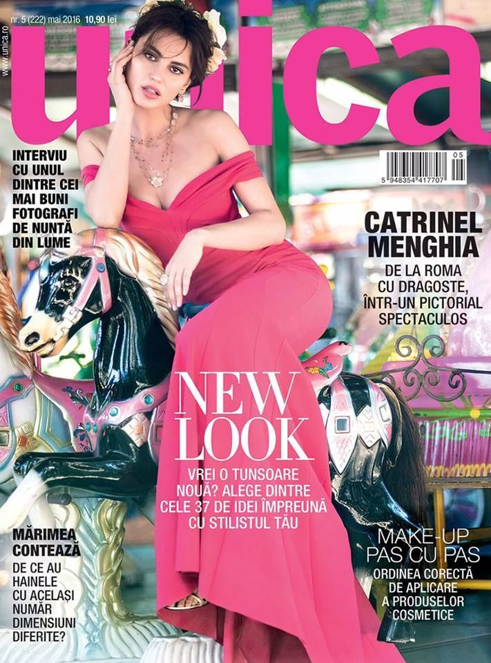 Actress Catrinel Marlon on Unica cover, makeup & hair by Massimo Serini, May 2016