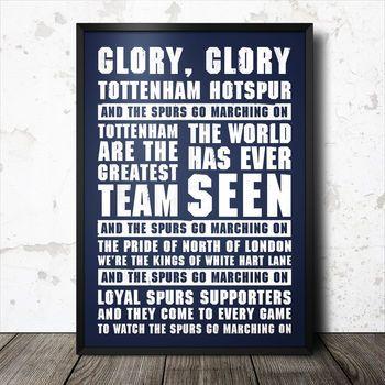 Tottenham Football Song Chant Poster
