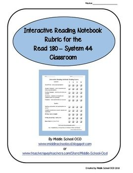 Interactive Notebooks can still be done in the Read 180 - System 44 Classroom!  I use this rubric to give my Intervention students guidelines for quality and content, and to grade their notebooks.  Not only do I use it to grade them, but every other week or so, they assess themselves or one of their peers.  This has allowed me to keep track of their Independent Reading better than any other checklist or record keeping.