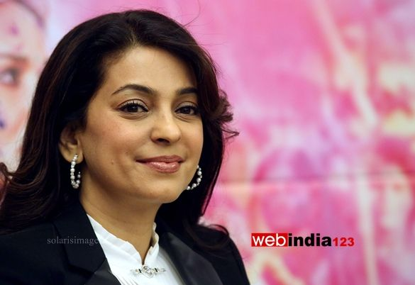 Bollywood actor Juhi Chawla during the promotion of her latest movie Gulaab Gang, in New Delhi, India on March 4, 2014.