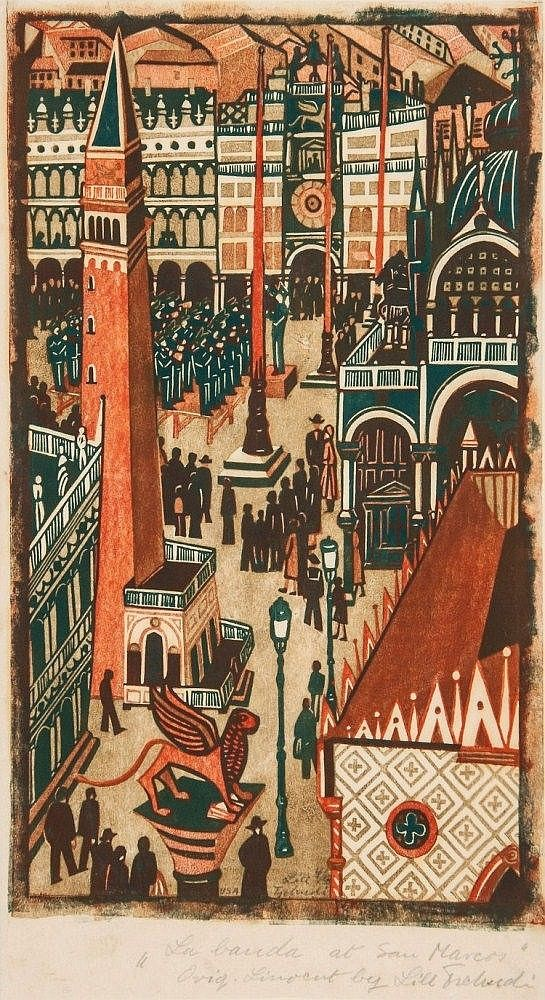 Lill Tschudi (1911-2004) - The Band at St. Marks Square | This appears to be a 3 color print with the orange and green overprinting to make a darker value.