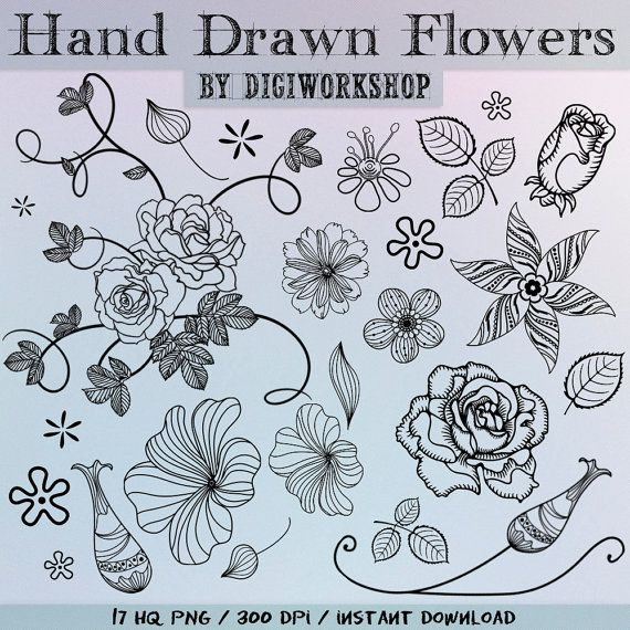 "Hand Drawn flowers clipart - ""Hand Drawn Flowers"" set with hand drawn black flowers, leaves, flowers, twigs and ornaments."
