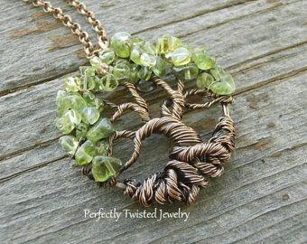 Alambre envuelto árbol de la vida Bonsai colgante peridoto Wire Wrap joyería hecha a mano, joyería de árbol de alambre con cuentas perfectamente trenzado de joyería, agosto