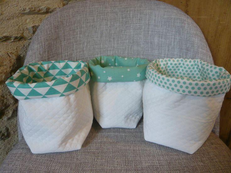 trio de panières vert menthe et blanches