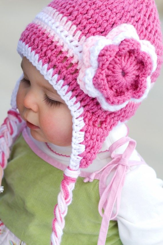 cute hat and flower Cute crochet hat patterns for kids Pinterest