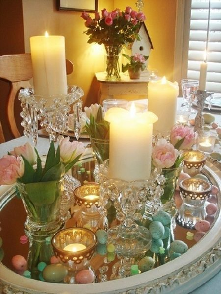 Easter tablescape..I could use my round white basket for this centerpiece