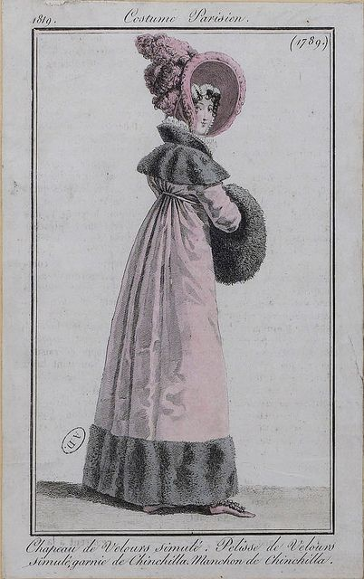 Pelisse de velours garni de chinchilla! 1819 costume parisien: