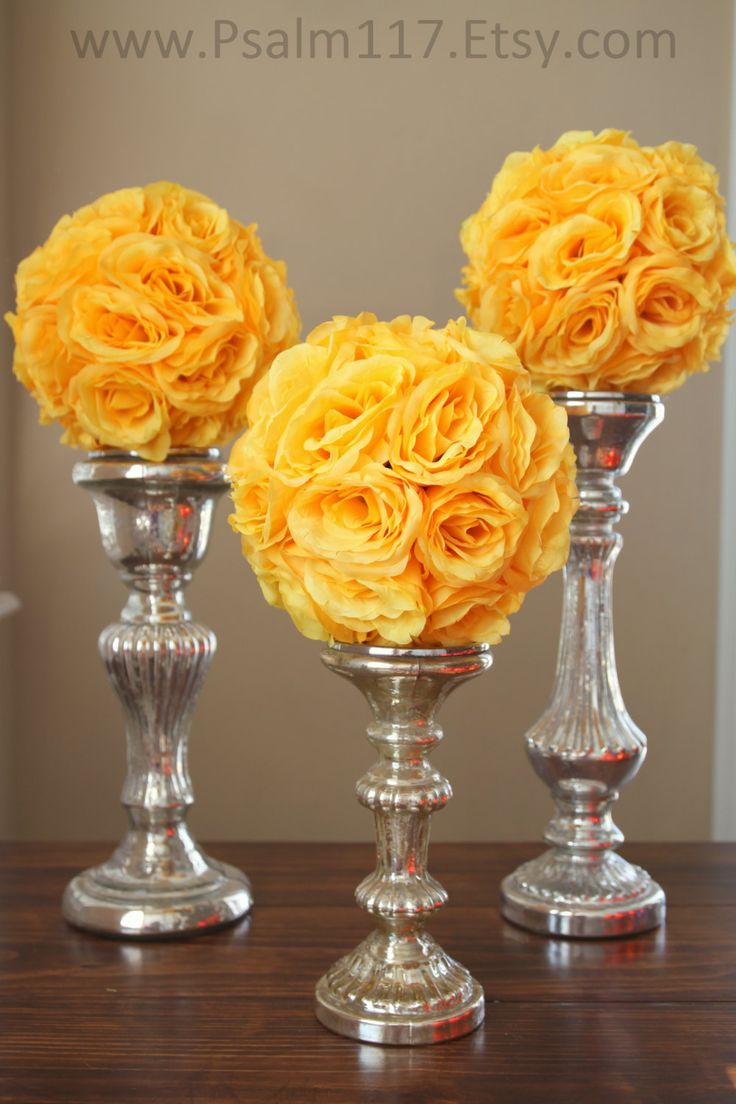 3 - 8 inch wide - YELLOW - wedding pomanders -  you choose ribbon color. $15 each - handmade custom wedding pomander flower ball - hanging flower ball - isle decoration - reception table topper on clear glass vase or candle stick