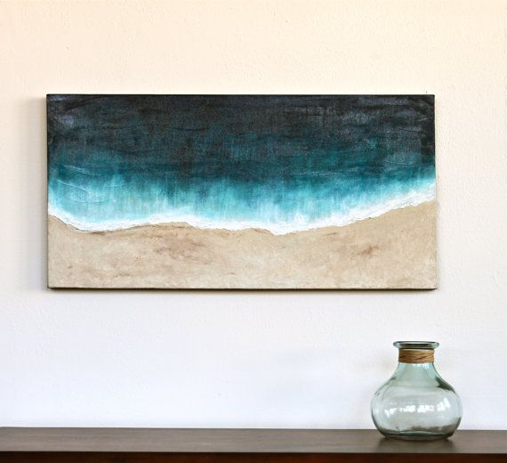 Beach original abstract art acrylic painting on thick by StudioZen, $295.00 Love this<3  Wish I was a better painter!