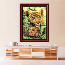 Beautiful Needlework, DIY DMC Cross Stitch,Sets For Counted Embroidery kits, Accurately Printed Little Leopard #HA10451(China (Mainland))