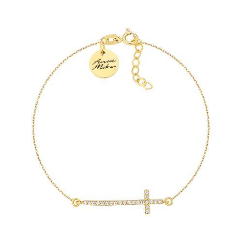 Piękna złota bransoletka z dużym krzyżykiem.  Krzyżyk z cyrkoniami.  Doskonale prezentuje się na ręce.  Idealna na prezent.  Rozmiar 18cm z możliwością regulacji.  Całość złoto 14K próba 585