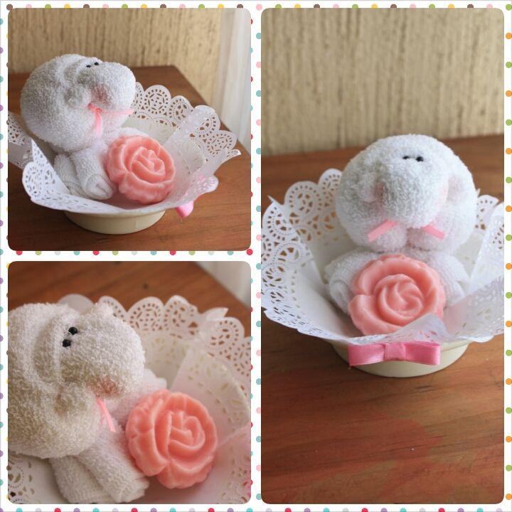 jabn y toallita de beb borrego para un bautizo soap and baby sheep towel