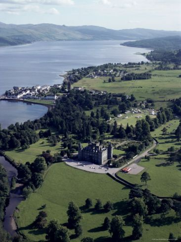 Aerial View of the 17th century Inverary Castle and Loch Fyne, Inverary, Scotland, seat of the Duke of Argyll, chief of the clan Campbell