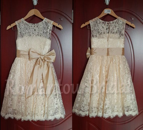 Champagne Lace Flower Girl Dress with  Bow Sash Wedding Children Bridesmaid CommunionDress Tutu Dress Country Bridesmaid Tolddler Dress