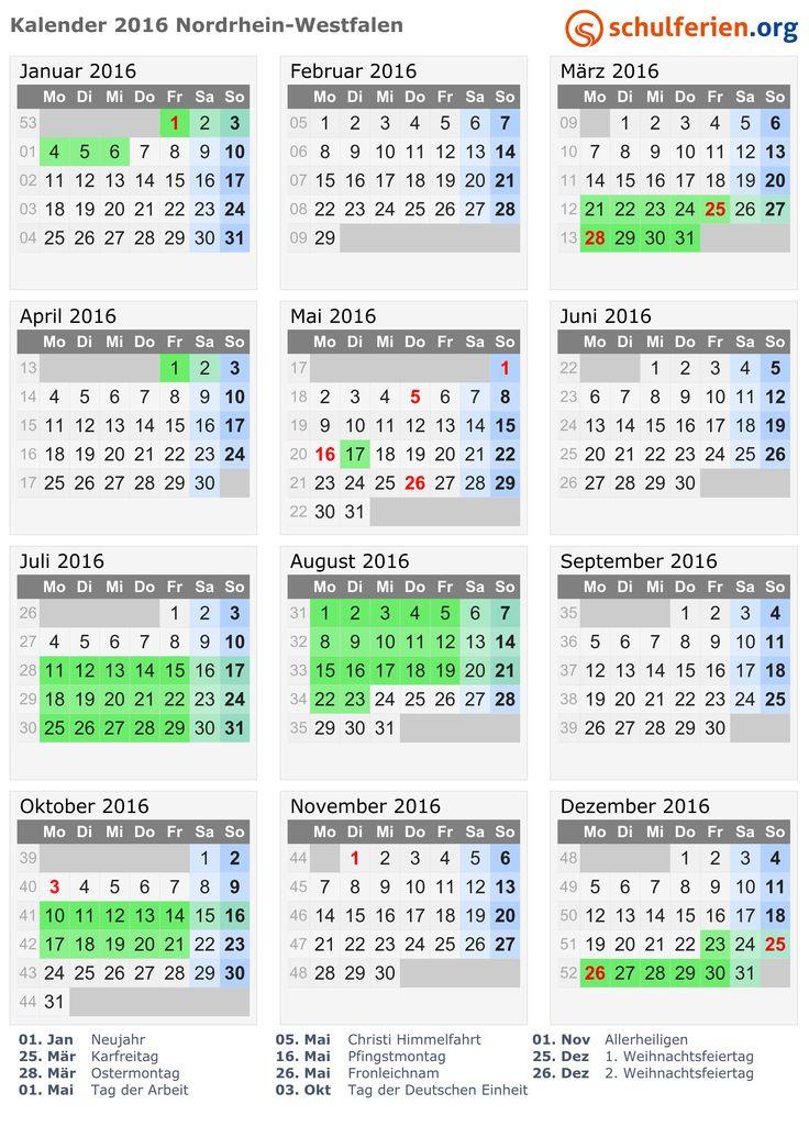 Kalender 2016 mit Ferien und Feiertagen Nordrhein-Westfalen