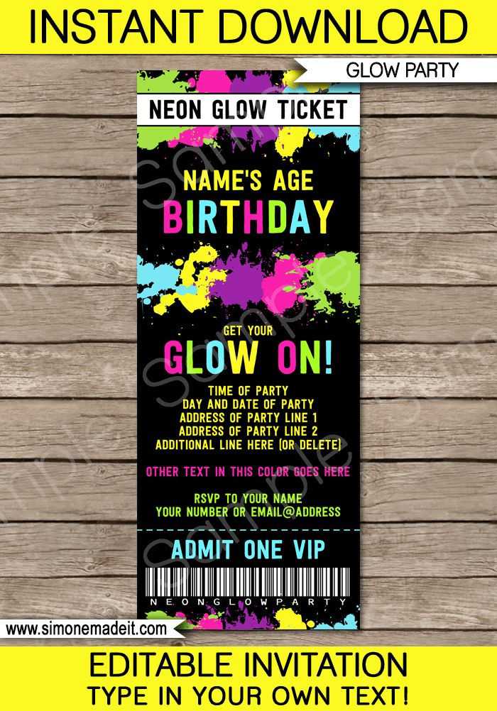 Neon Glow Party Ticket Invitation Template | Editable & Printable DIY Template | INSTANT DOWNLOAD $7.50 via simonemadeit.com