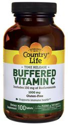Country Life Time Release Buffered Vitamin C 1,000 mg 100 Tabs - Swanson Health Products