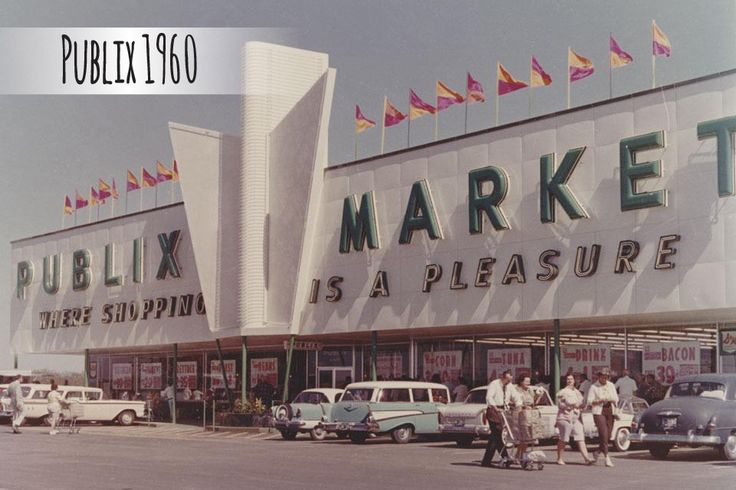 "1960s Publix store front. The winged design was a popular architectural feature in that decade. It was better known as the ""waterfall"" because at night, neon lights appeared to cascade down the wings in a waterfall fashion."