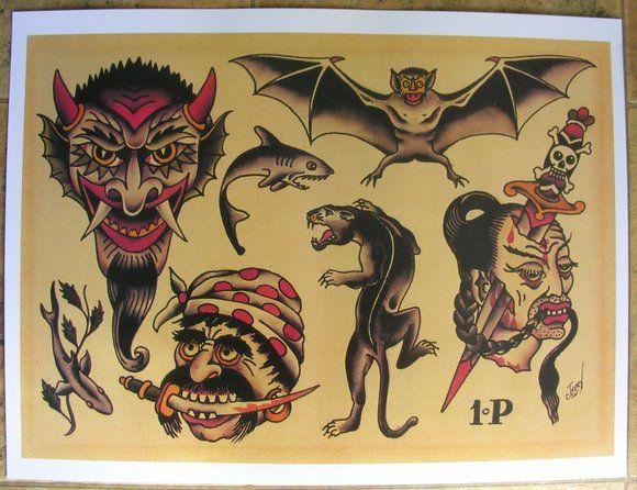 sailor jerry collins tattoo flash sheet devil bat knife tattoos pinterest sailor jerry. Black Bedroom Furniture Sets. Home Design Ideas