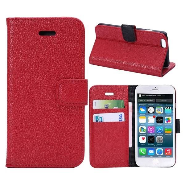 Lychee rood 3-in-1 bookcase hoesje voor iPhone 6