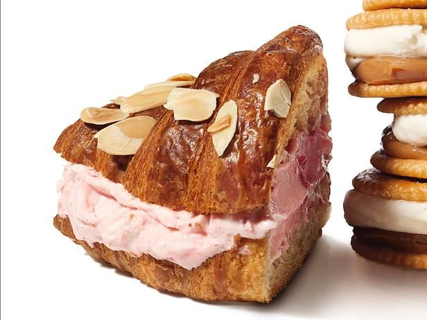 Cherry-Almond Croissant Ice Cream Sandwiches from #FNMagFrozen Treats, Crescents Croissants, Ice Cream Sandwiches, Cherries Almond Croissants, Almond Sandwiches, Cherryalmond Croissants, Icecream Sandwiches, Croissants Icecream, Cherry Almond Croissants