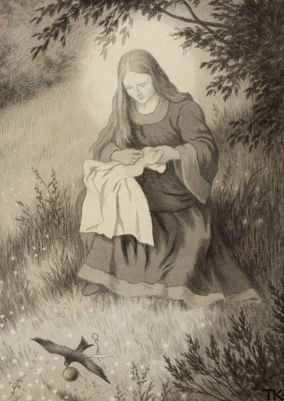 """Jomfru Maria Og Svalen"" Theodor Kittelsen"