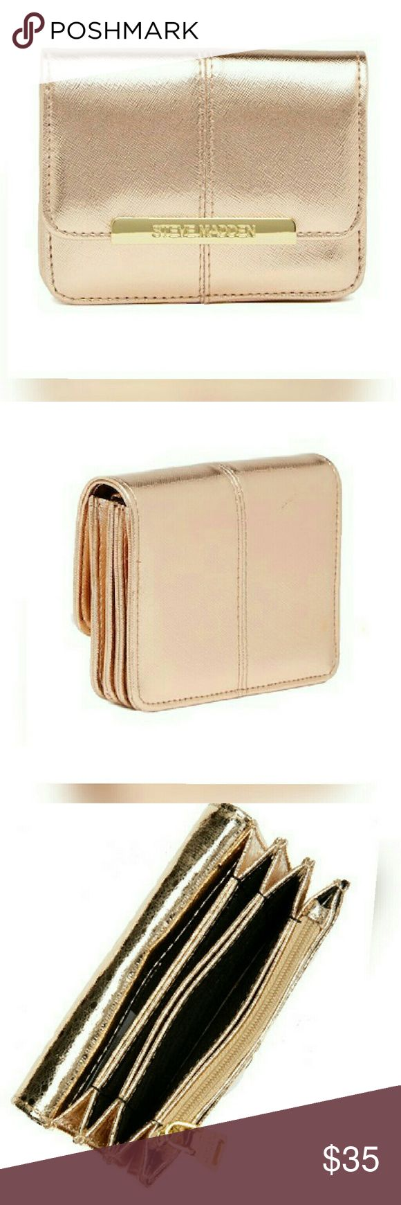 """♡Steve Madden accordion waĺlet (2piece set)♡ Rose Gold, Steve Madden accordion wallet set. Fold over flap with magnetic closure..  4.25"""" H × 5.25"""" W ×1"""" D... GRAB ONE NOW! #YOUwillLovethese! Price is FIRM 💲💲 everything is marked on an already low sale price.. Thank you all for the gracious kindness..❤ Steve Madden Bags Wallets"""