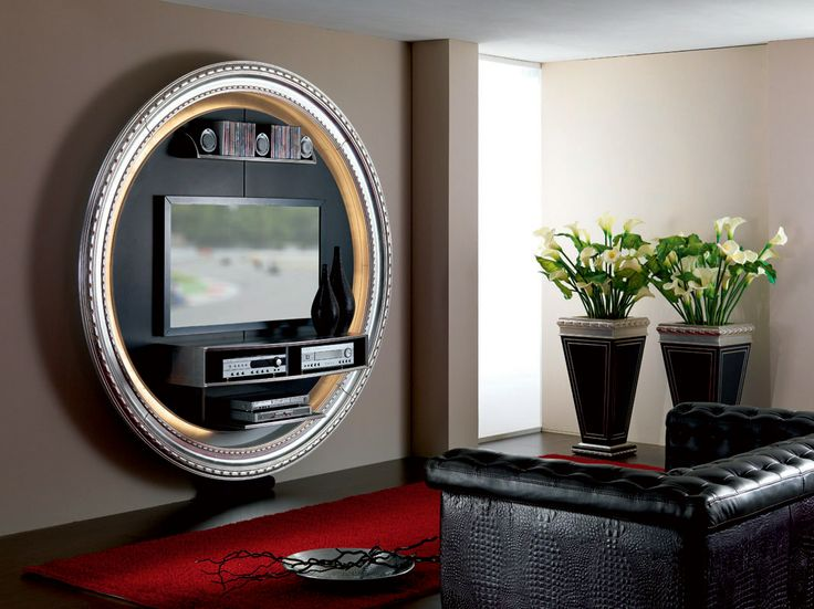 Tv Stand Tv Rack Tv Wallunit In Round Shape And Vases