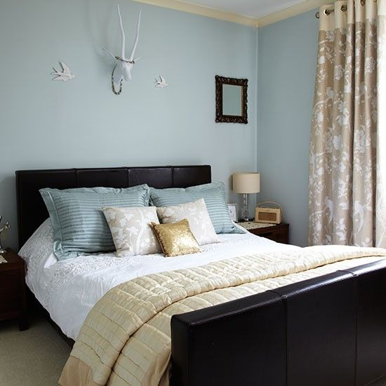 Duck egg blue bedroom with gold accents | Bedroom decorating | Style at Home | housetohome.co.uk