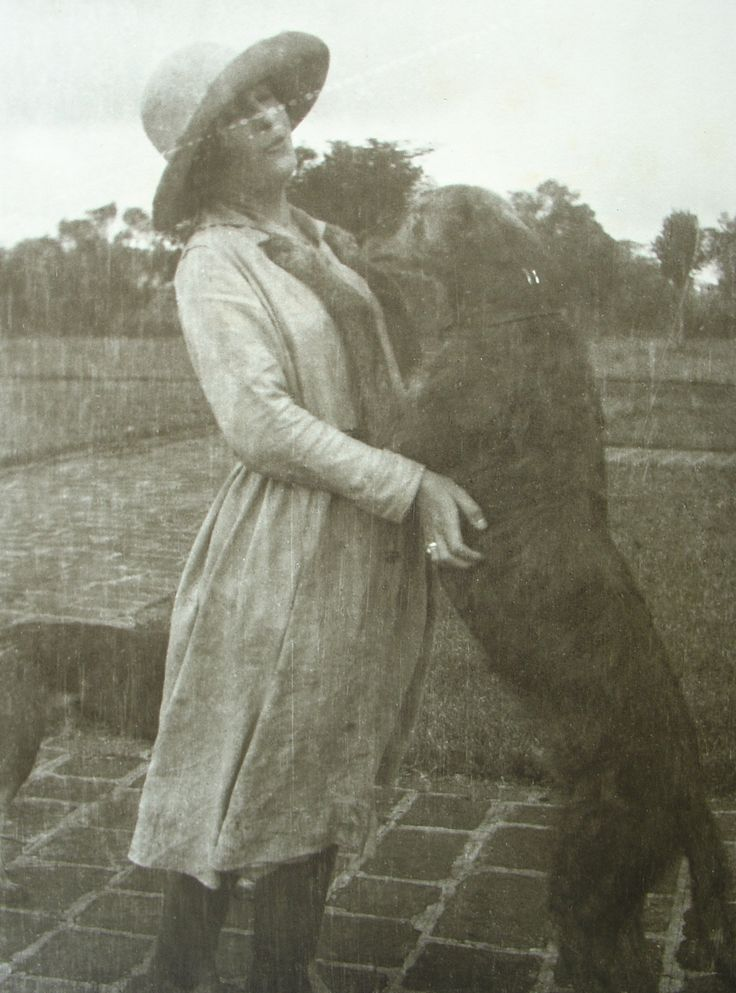 Karen Blixen with Dusk, her Scottish Deerhound, in Kenya