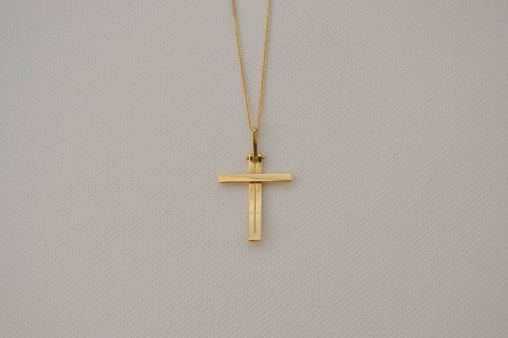 Baptism Cross Necklace Solid 18k Gold Cross Gold Necklace Mens Cross Necklace Bar Cross Necklace Confirmation Cross Necklace Birthday Cross by ViazisJewelry on Etsy